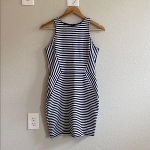 Navy Striped Mini Dress